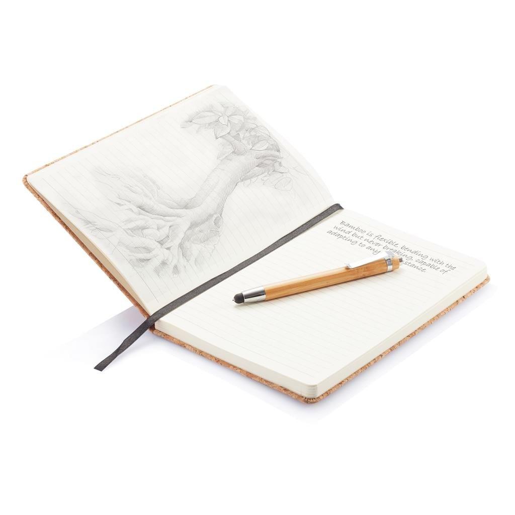 carnet ouvert avec crayon bambou